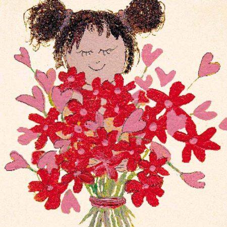 kaart, zintenz, bloemen