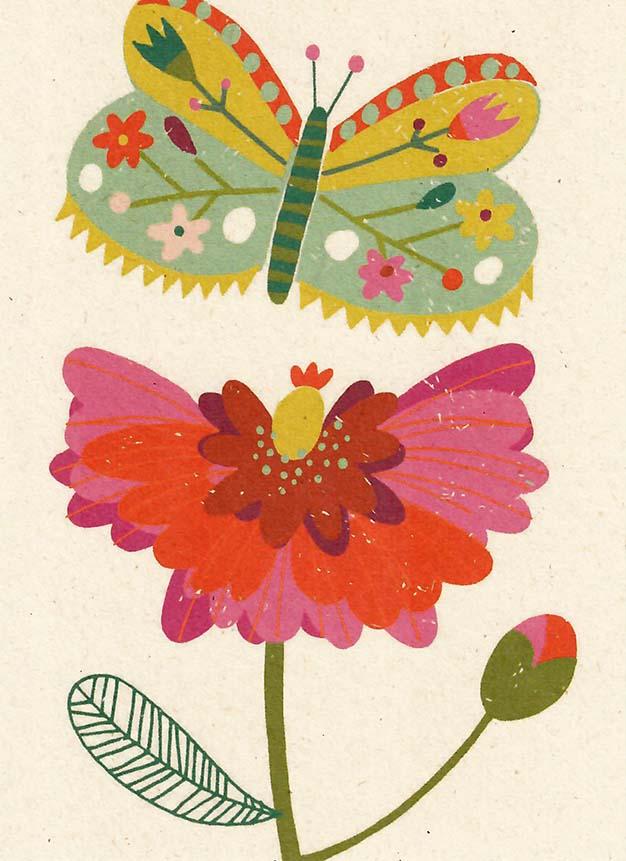 kaart, zintenz, vlinder,bloem