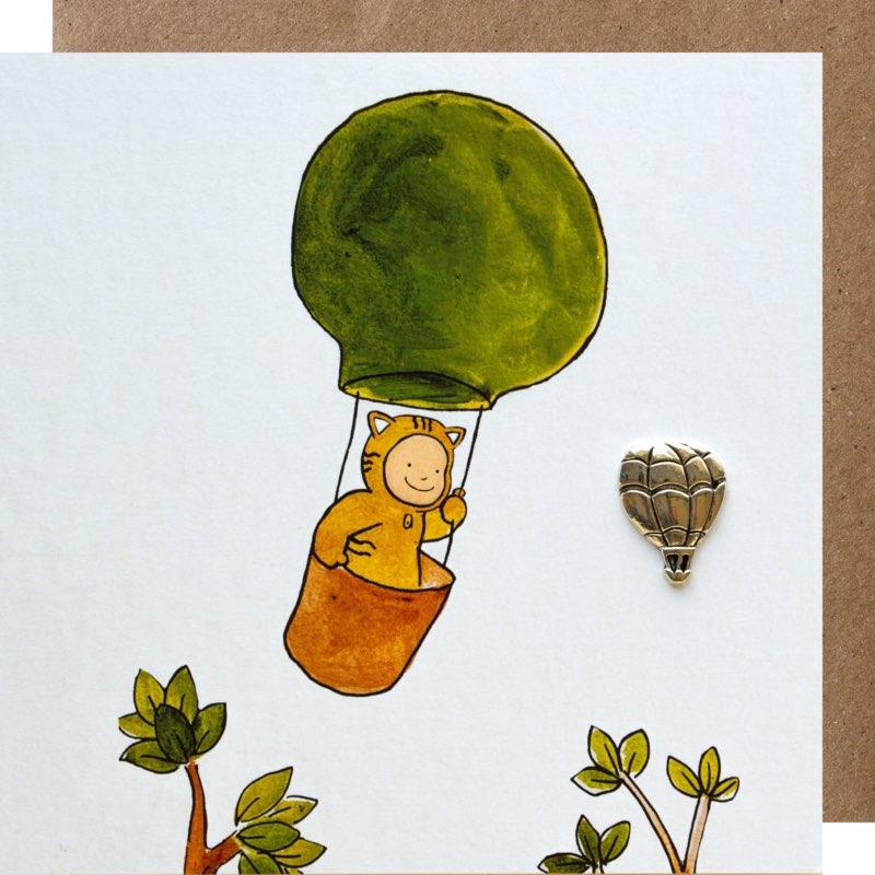 kaart, luchtballon, sidedish