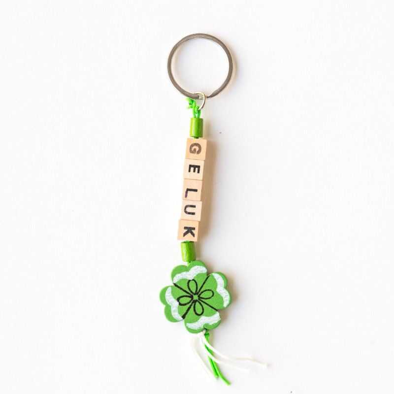 sleutelhanger, sidedish, geluk, klavertje 4