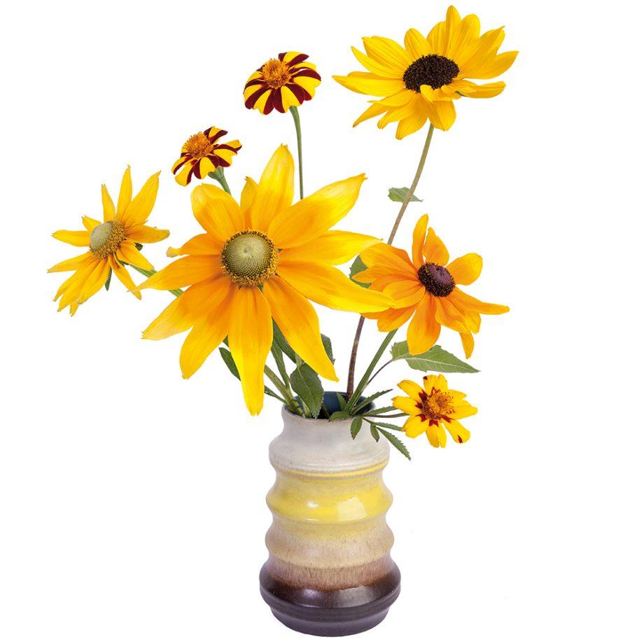 flatflowers, zonnebloem, retro, raamstickers