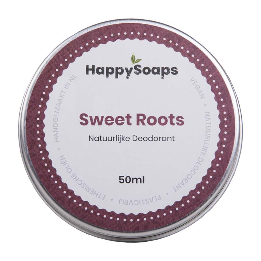happysoaps, natuurlijke deo, deodorant, blikje, sweet roots, duurzaam, plasticvrij