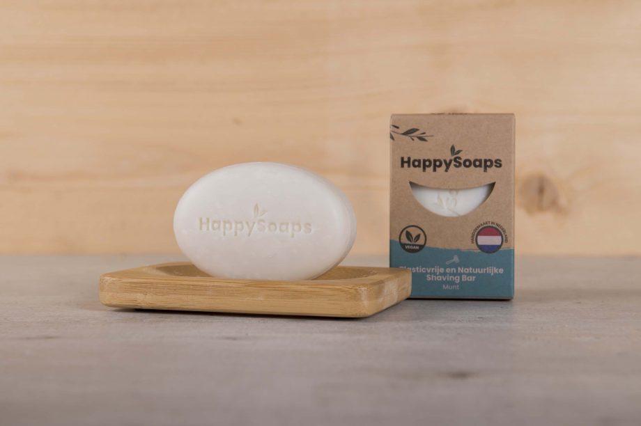 happy soaps, shaving bar, munt, duurzaam, plasticvrij