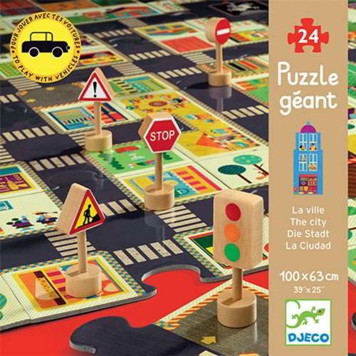 djeco, puzzel, vloerpuzzel, verkeer, stad