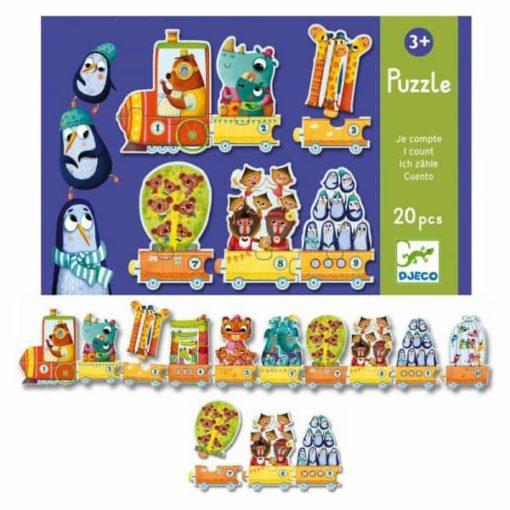 djeco, puzzel, I count, tellen, trein, educatief