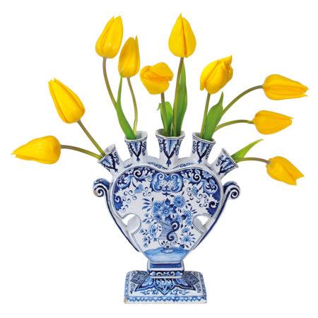 flat flowers, kaart, tulpen, geel , delfts blauw