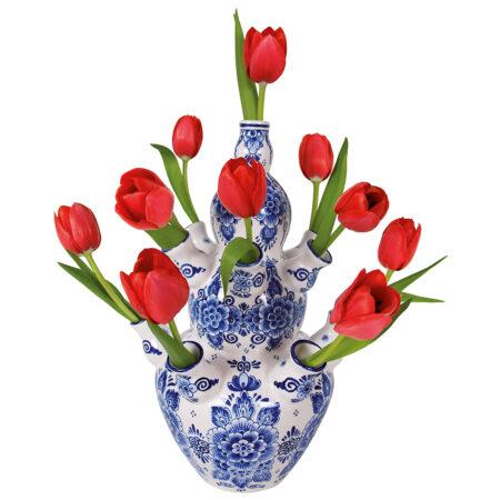 flat flowers, kaart, tulpen, rood, delfts blauw