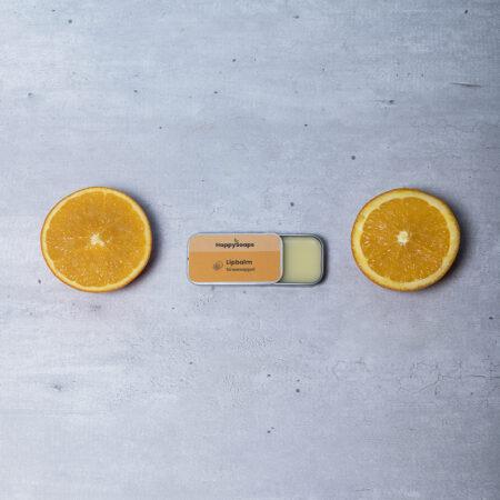 lipbalm, plasticvrij, sinaasappel, happy soaps