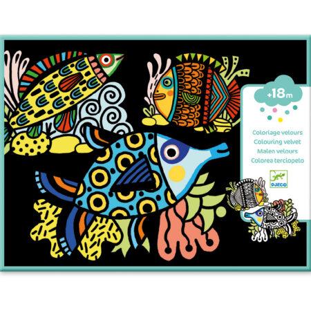 djeco, velvet colouring, kleurplaten, vissen, fish