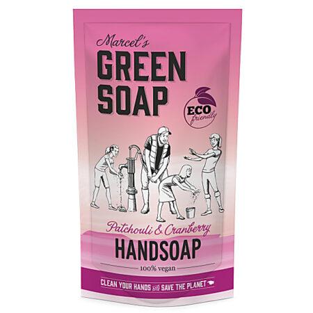 marcels green soap, refill, navulling, stazak, patchouli, cranberry, 500ml
