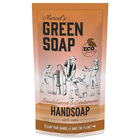 marcels green soap, refill, navulling, handzeep, sandelhout, kardemom, stazak, 500ml