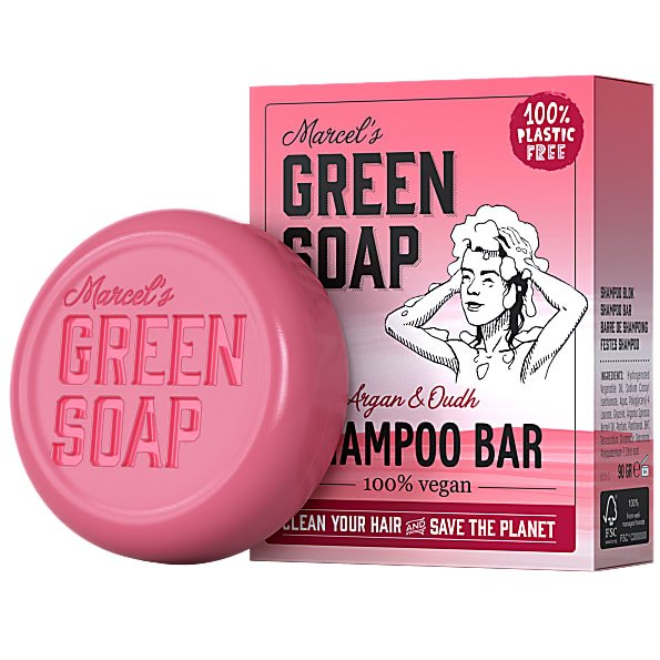 marcels green soap, shampoobar, argan, oudh