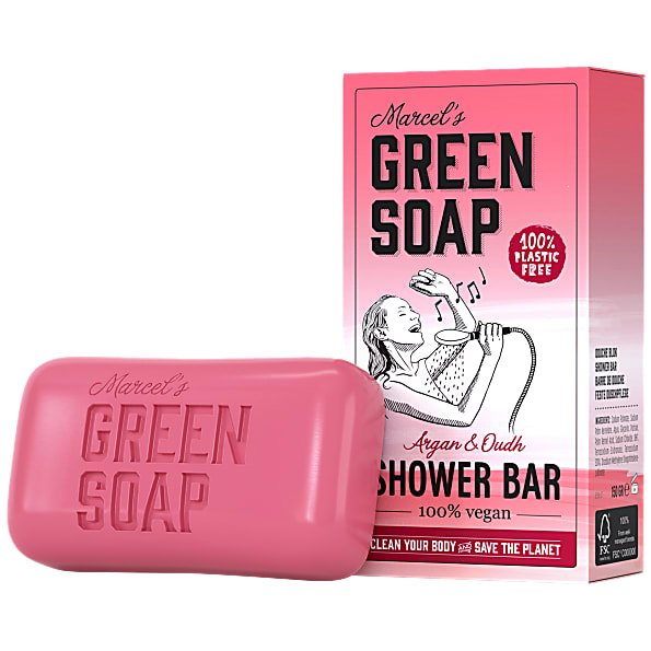 marcels green soap, showerbar, argan, oudh