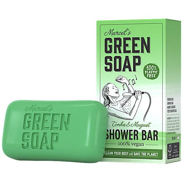 marcels green soap, showerbar, tonka, muguet, lelietjes van dalen