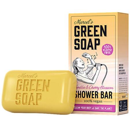 marcels green soap, showerbar,vanille, kersenbloesem
