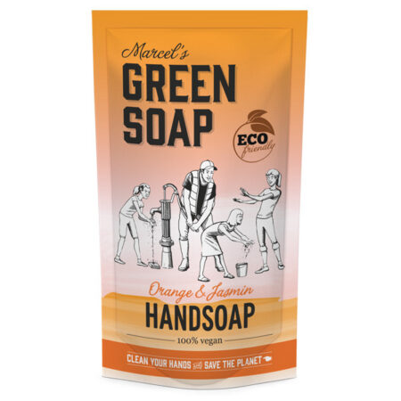 marcels green soap, navulling, refill, stazak, sinaasappel, jasmijn, 500ml