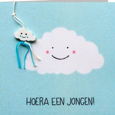 kaart, geboorte, jongen, hoera, wolkje, sidedish